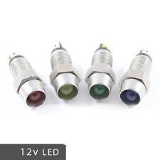 LED 12v Chrome Warning Indicator Dash Lights RED AMBER GREEN BLUE Battery Oil