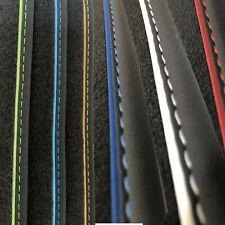Fußmatten für Peugeot 5008 II Velours schwarz Nubukband und farbigem Unterband