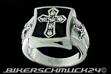 Ring mit Kreuz verziert mit Zirkonia und Schwertern Edelstahl Herren Geschenk