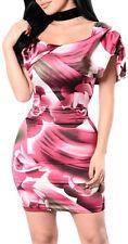 Miniabito colorato con scollatura schiena vestito donna corto abito party