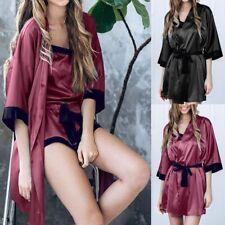 Womens Silk Satin Robe Bathrobe Kimono Bridesmaid Robe Sexy Lingerie Sleepwear
