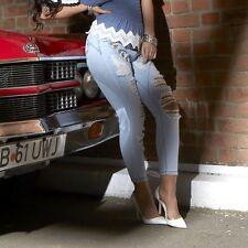 BY ALINA Damenjeans Jeans Damenhose Röhrenjeans Crashlook Hüftjeans  34-38 #B193