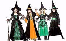 Enfant deluxe sorcière + chapeau filles fancy dress halloween enfants costume 3-10 an