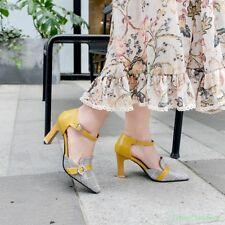 Women Pointy Toe Buckle Strap Shoes Pumps High Stilettos Heel Rhinestone Fashion