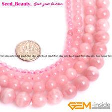 "Round Madagascar Natural Pink Rose Quartz Crystal Loose Beads Jewelry Making 15"""