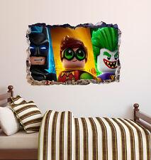 Lego Movie Smashed 3D Wall Decal Batman Robin Joker Sticker Vinyl Decor Art DA79