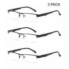 3 PACK Mens Business Reading Glasses Spring Hinges Readers Half Rimless +1.0~4.0