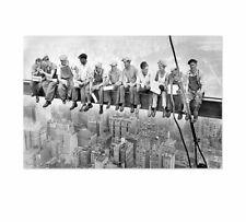 Skylunch Keilrahmenbild, Bild auf Leinwand, Retro Foto Bauarbeiter auf Hochhaus