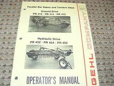 Gehl PR412 414 415 452 454 455 Parallel Bar Rakes Operator's Manual