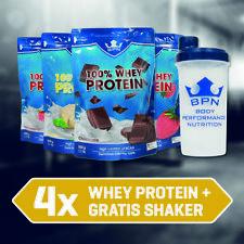 Power Pack - 4x 100% Whey Protein + Gratis Shaker, Eiweiß Shake, Proteinpulver