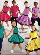 NWT Dance Costume Skirt w/Petticoat Elastic Waist Girls-Plus sz 4 colors 50'sfun
