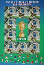 BLOC DE TIMBRES 1999 COUPE DU MONDE DE RUGBY NEUF **