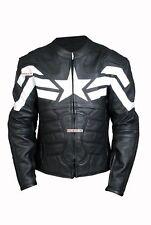 Captain America Moto Veste En Cuir Moto courses Peau de vache Veste en cuir