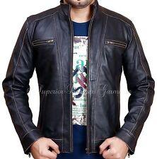 Men's BLACK Riv Leather Faded-Seam Jacket Genuine Leather Jacket