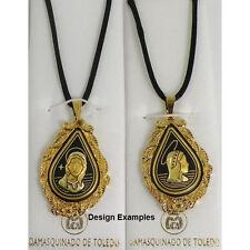 Damascene Gold Virgin Mary Design Pendant Necklace by Midas of Toledo Spain