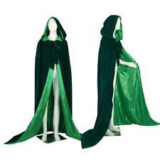 Green Velvet Hooded Cloak Halloween Pagan Witch Wedding Cape Stock Size S-6X