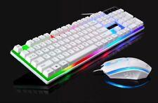 Crack LED Illuminated Backlit USB Wired PC Rainbow Gaming Keyboard + Mouse