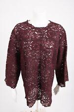 f0007e1b56926 Zara Womens Lace Blouse Shirt Top Floral Burgundy Maroon Semi Sheer 2731 242  NWT