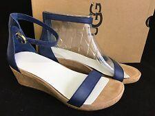 UGG Australia Emilia Wedge Ankle Strap SANDALS Marino sizes Leather Cork 1016765