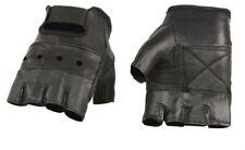 Black Leather FINGERLESS Gloves Gel Palm Motorcycle Biker Driving Riding Work