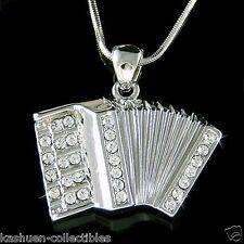 w Swarovski Crystal Bass Piano ~Accordion Squeezebox Folk Music Musical Necklace