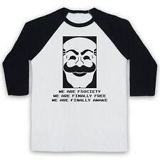 WE ARE FSOCIETY UNOFFICIAL MR. ROBOT F SOCIETY HACKER 3/4 SLEEVE BASEBALL TEE