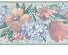 Textured Shimmer Sheen Floral Tulip Light Green soft VTG Wallpaper Wall Border
