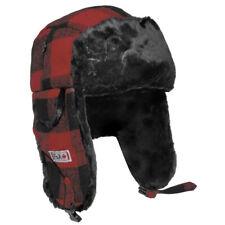 Fox Outdoor Fur Hat Lumberjack Winter Warm Trapper Hiking Ear Flaps Red / Black