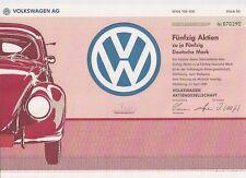 Volkswagen AG Wolfsburg alte DM Aktie 1991 VW Käfer Golf Passat Polo Automobil