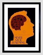 Cotización de aprendizaje nunca se detienen la tipografía motivación Naranja Lámina B12X13951