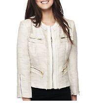 XOXO Juniors Jacket Tweed Faux Leather Zip Front Beige Multi size S M NEW