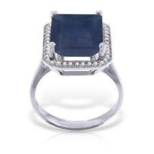 Véritable Saphir Taille Émeraude Pierre Précieuse Diamants Bague Du Halo 14K