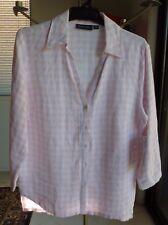 GORDON SMITH Linen Shirt Pink & White Check Gingham 5 button 8 / 10 RRP $140 NWT