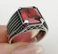 5fbb2d408a8f Turca 925 plata esterlina con piedra de rubí rojo para hombre Mans Anillo  todos si̇ze Usa