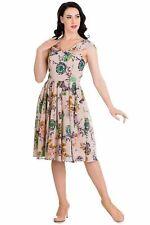 HELL BUNNY Dusty Pale Pink Floral Alternative Vintage Marilyn 50's Chiffon Dress