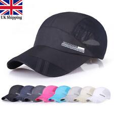 Men Women Outdoor Sport Baseball Mesh Hat Running Visor Quick-drying Flat Cap UK