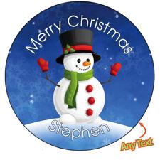 Personalised Snowman Christmas Xmas Santa Stickers Present Gift Seal Label - 874