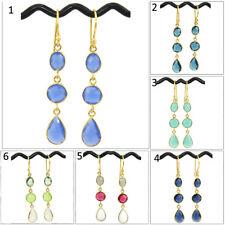 Fashionable Chalcedony Quartz Agate 24k Gold Plated Bezel Hook Earring Jewelry