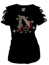 Bling Walk By Faith High Heel Shoe Rhinestone T-Shirt,Ripped Cut SML1X2X3X SHort