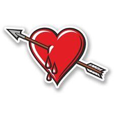 2 x Bleeding Broken Heart Vinyl Sticker Laptop Travel Luggage Car #5566