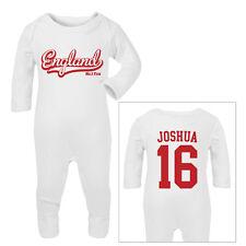ENGLAND Football Personalised Baby SleepSuit Romper