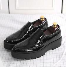 British Men Loafer Slip On Patent Leather Japanese high Platforms Carved Shoes