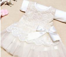 Girls Christening Bridesmaid Party Dress Bow Tutu Chiffon Pink Baby White Lace