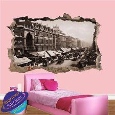 Vintage Street View London 3D se estrelló Pared Adhesivo Calcomanía Mural Decoración De Habitación