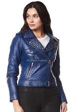 ROCKSTAR Ladies Real Leather Jacket Blue Studded Rock Chic Soft Biker Style 4326