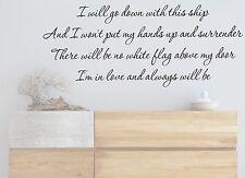 DIDO WHITE FLAG LYRICS QUOTE MUSIC WALL ART VINYL STICKER BEDROOM  HOME DIY HOME