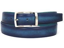 PAUL PARKMAN Cinturón de Cuero para Hombre Tono Dual Azul y Turquesa (ID#B01-BLU-TRQ)
