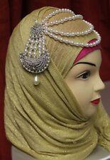 Diamante Beaded Pearl Hijab Matha Patti Tikka HeadPiece Bridal CostumeJewellery