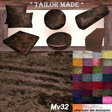 Mv32 Brown Crushed Velvet Sofa Seat Patio Bench Box Cushion Bolster Cover/Runner