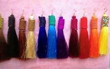 Stunning Boho Style Tassel Earrings Long Colourful ... Gold Earhooks 12cm